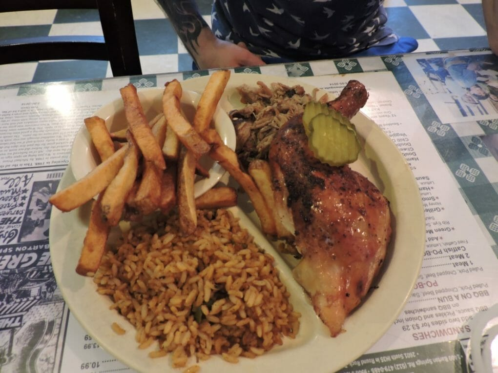 Green Mesquite Austin BBC plate - meat, rice, fries