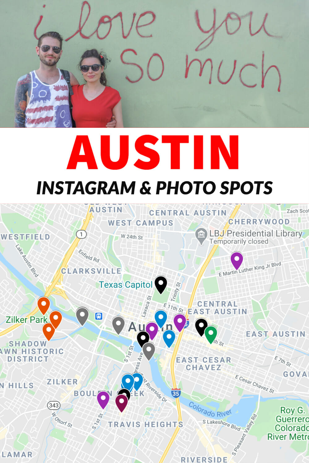 Looking for the best Instagram spots in Austin, Texas? This guide details cool streets, hip hotels, awesome murals, landmarks and the cutest couple photo locations in Austin. Map included!