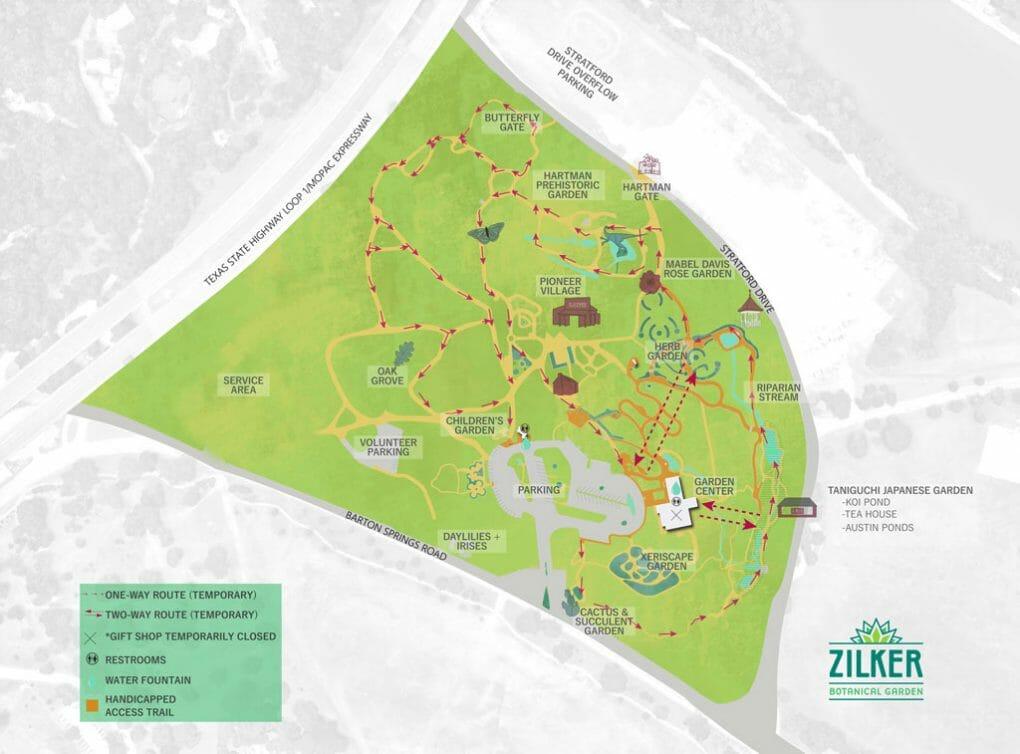 Zilker Botanical Gardens Austin Map