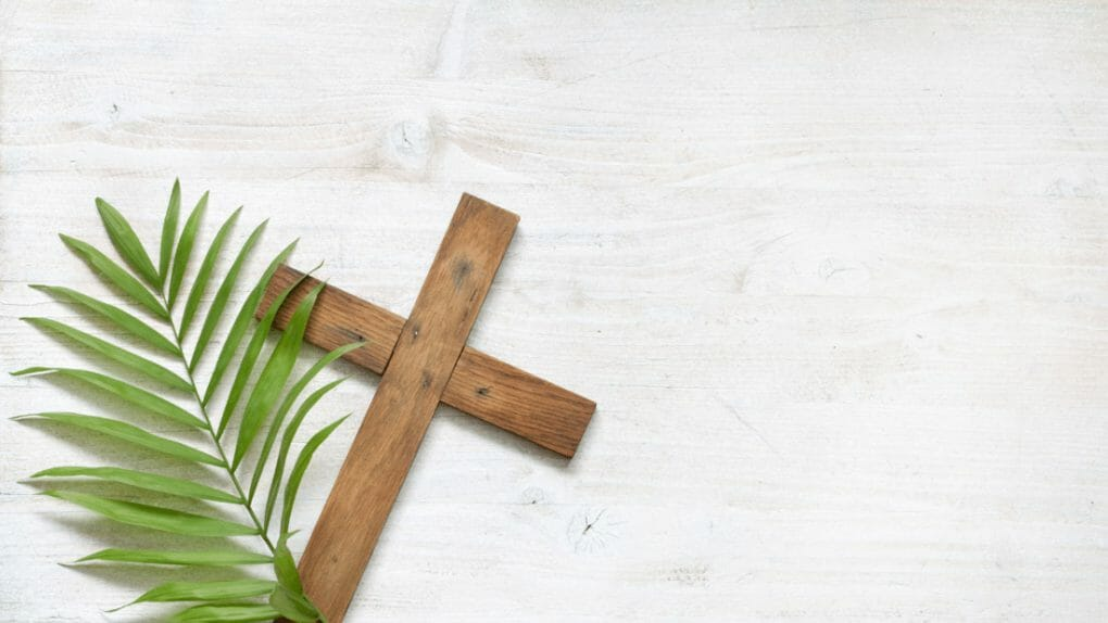 Cross and palm Easter Zoom Backgrounds
