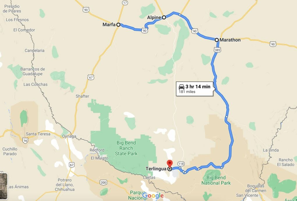 Map Martha to Alpine, Marathon and Terlingua