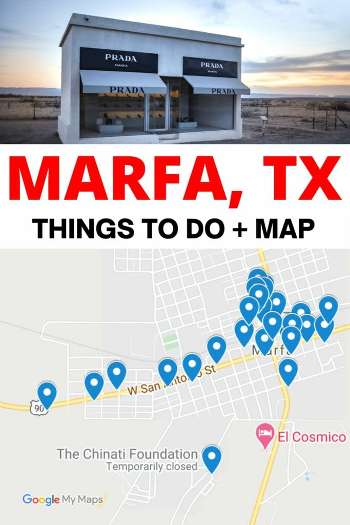 Things to do in Marfa, Texas. Best Instagram spots, where to find Prada Marfa store, Marfa Lights tips and everything you need to know for your weekend trip to Marfa. Guide includes a free map.