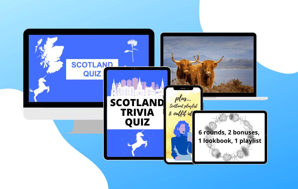 Desktop, laptop, tablet and phone advertising Scotland trivia quiz