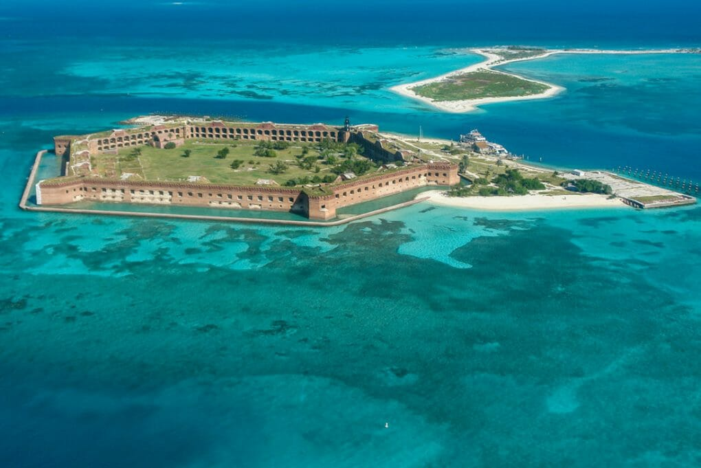 Aerial Views in Dry Tortugas National Park in Florida,