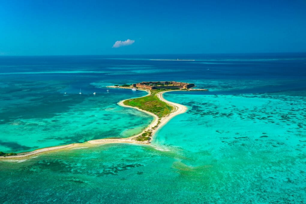Aerial view of Civil War Fort Jefferson and Gulf of Mexico in Dry Tortugas National Park, Florida