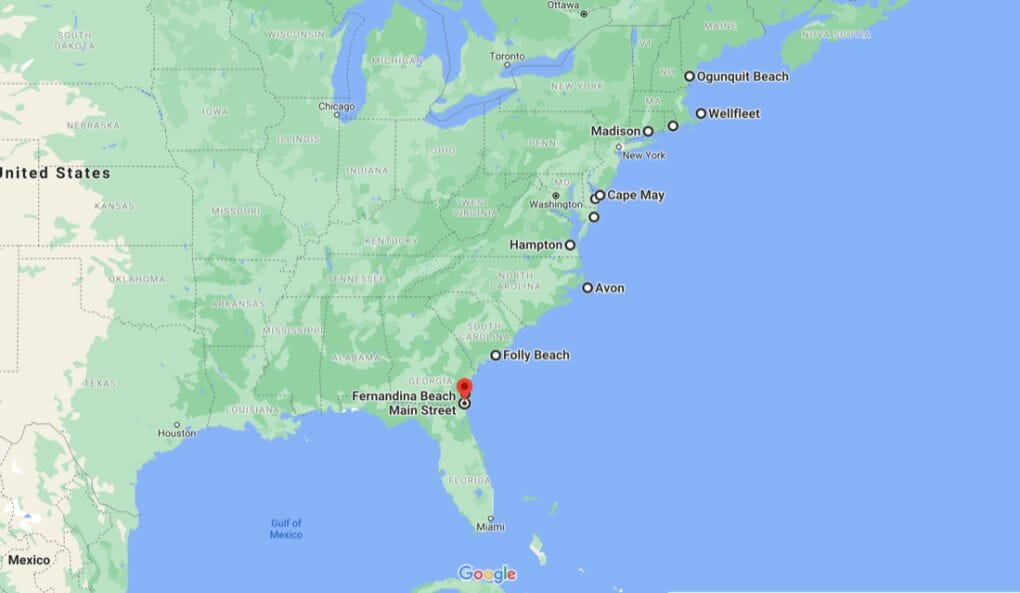 Beach Map East Coast Towns