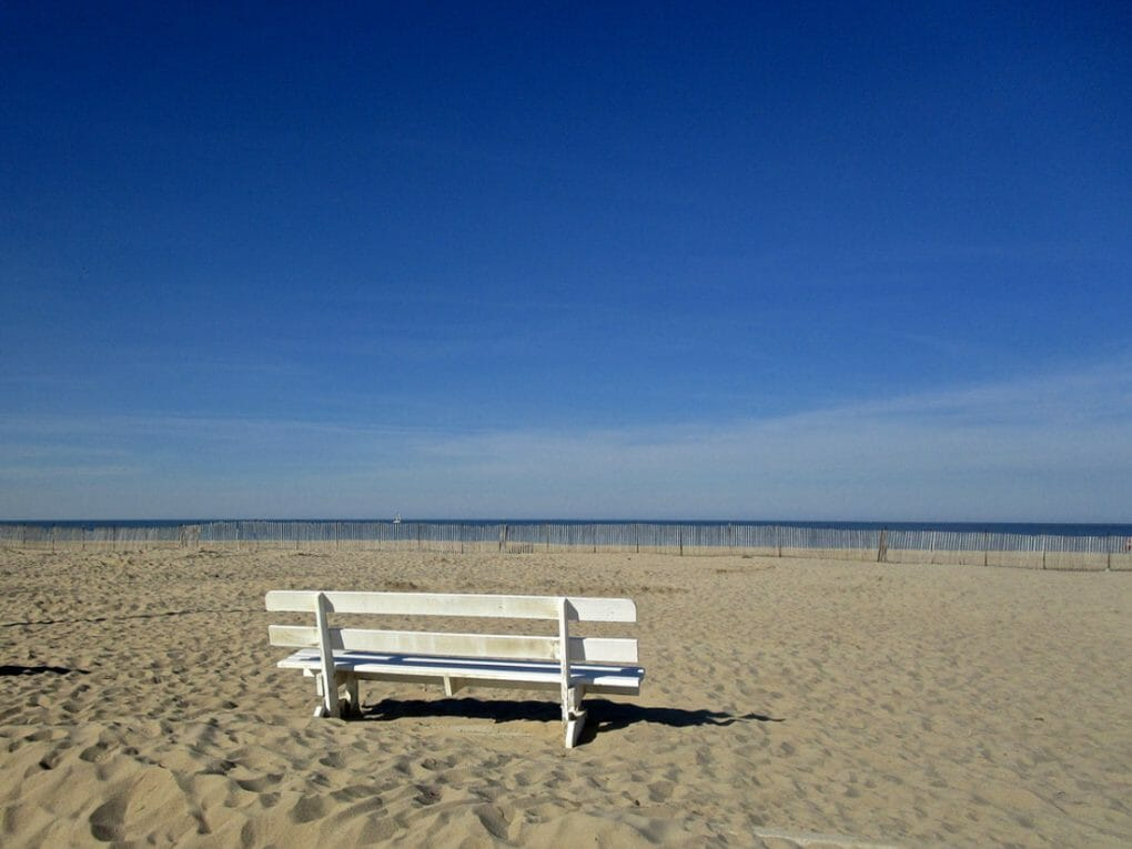 Lewes, Delaware bench on beach