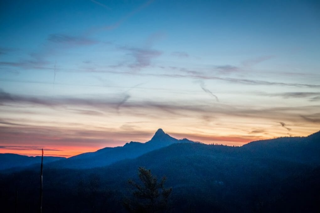 Linville gorge wilderness mountains at sunset