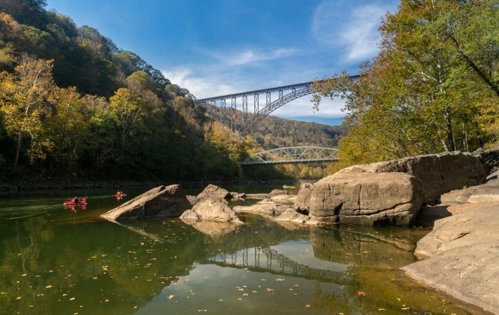 Two Kayakers at the New River Gorge Bridge in West Virginia