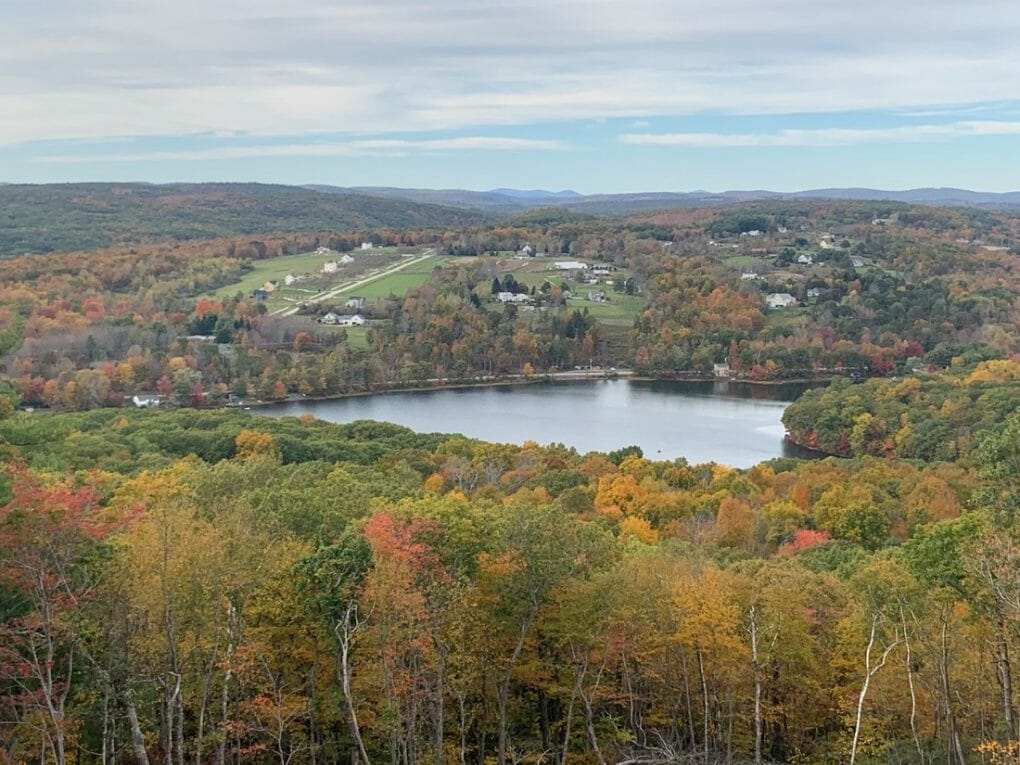View from the top of the Tower at Mount Tom State Park in Washington, Connecticut