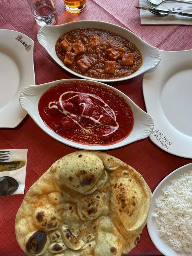 Indian Food on table in Mull Tobermory Scotland