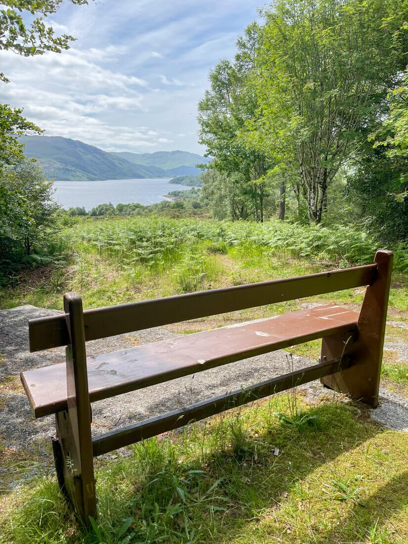 Phemies Walk Viewpoint Bench in Ardnamurchan in Scotland