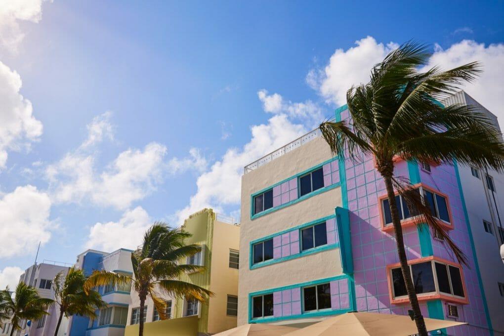 Miami Beach Ocean boulevard Art Deco Building Florida